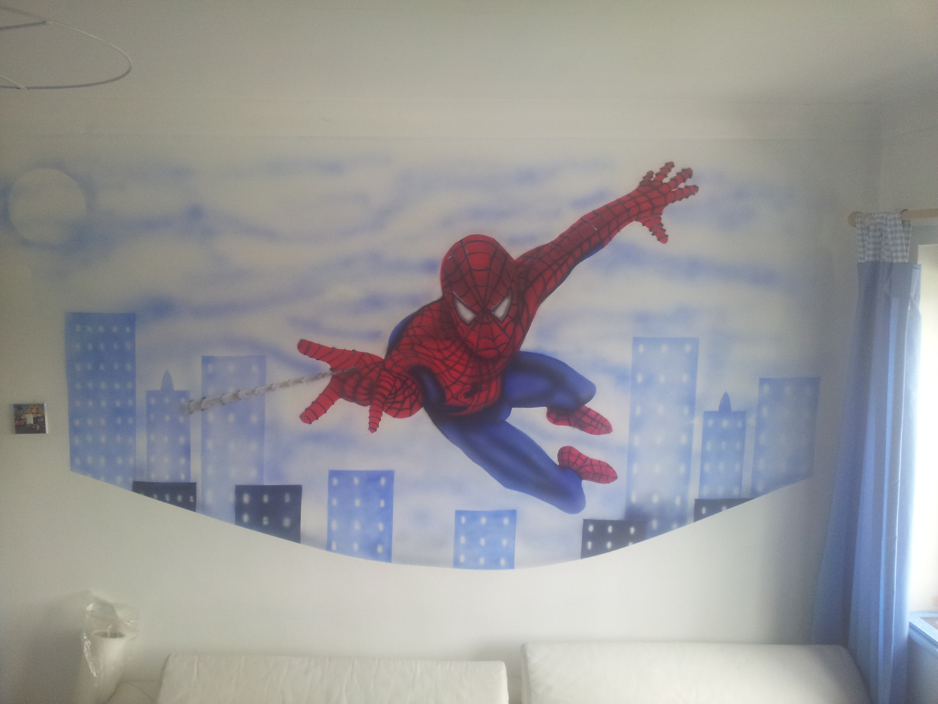 Airbrushingmurals spiderman wall mural amipublicfo Choice Image